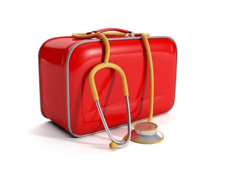 medical cabinet: 3d illustration: medical kit on a white background