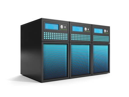 data storage: 3d illustration: Data Storage, a group of servers in close-up