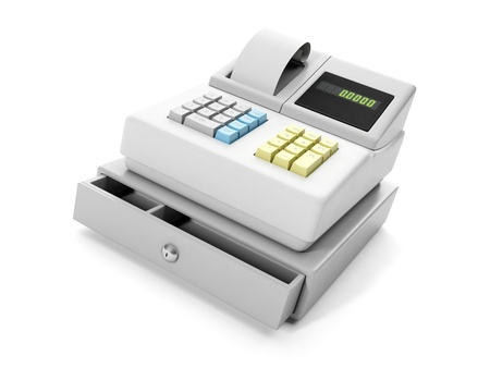 3d illustration: cash register close-up illustration