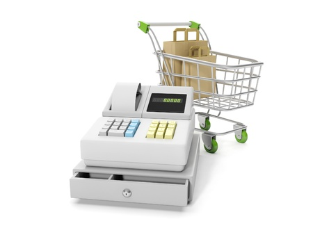3d illustration: Sale and purchase. Cash mashines and shopping carts with paper bags Banque d'images