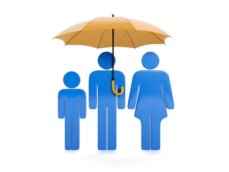 3d illustration:  Family under the umbrella illustration