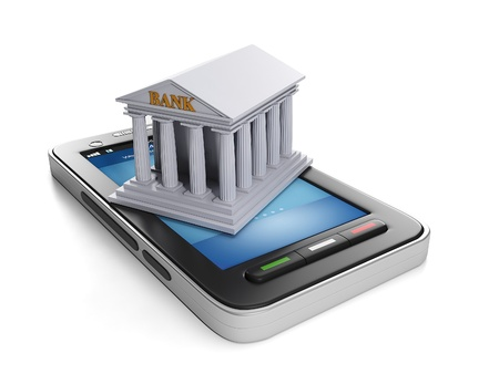 3d illustration: Mobile technology. Mobile banking, mobile phone and bank building Banque d'images