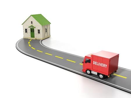 puppenhaus: 3d illustration: Transport, Fracht. Kostenlose Hauszustellung