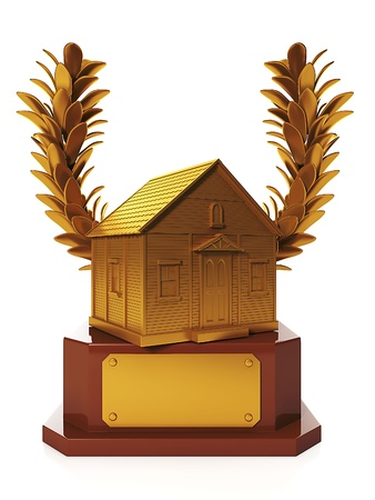 laurel mountain: 3d illustration: Awards and prizes. The award for the best house, in the form of a gold cup at home