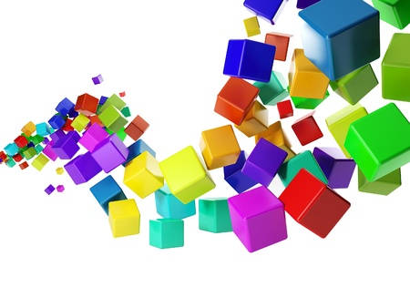 3d illustration: abstract idea. Group of colorful cubes flying in the air Banque d'images
