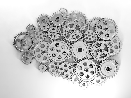 3d Illustration: Business ideas. Brain in gear made ??of the generation of new ideas