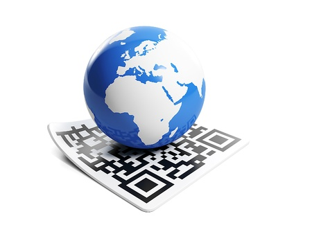 3d illustration of internet technology. Barcode and earth Banque d'images