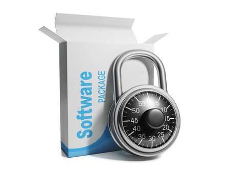 3d illustration: Licensed software, licensed software box with combination lock and Stock Illustration - 15559249