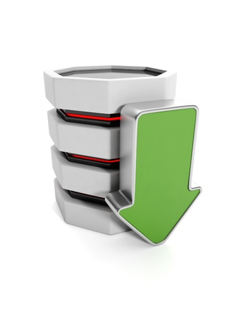 vanish: 3d illustration: Saving the information on your hard disk. Hard disk and a green arrow