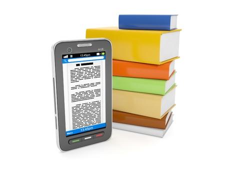 visual perception: 3d illustration: E-Books. Mobile phone and a group of books