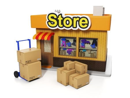 3d illustration: Sale and purchase. Delivery of goods to the store, shop and a group of boxes on a white background Banque d'images