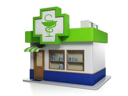 pharmacy symbol: 3d illustration: Medicine. Apothecary Building