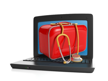firstaid: 3d illustration of computer technologies. First-aid kit and a laptop, order Food Stamp benefits Stock Photo