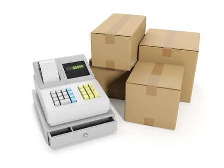 storage warehouse: 3d illustration: Sale goods storage, warehouse. Cash register and group boxes Stock Photo