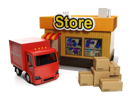 3d illustration: Sale and purchase. Shop and cardboard boxes and shipping