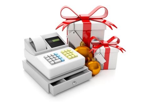 caja registradora: 3d ilustración: Concepto para la venta y compra. Trolley globos y bolsas de papel, venta de vacaciones. Precio de la baja