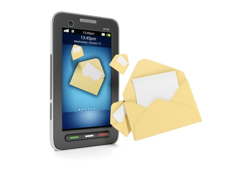 3d illustration: Concept mobile phone and tehnoogii. Sending SMS messages to your phone illustration