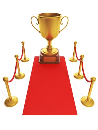 the place is important: 3d illustration: sports awards. Red carpet leading to the Cup