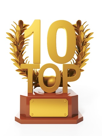 number 10: 3d illustration: Sports awards. Cup in the form of branches sports competition Top 10