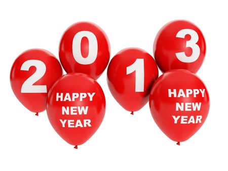 3d illustration: Holidays and events. Group of balloons, happy new year 2013 Stock Illustration - 15557400