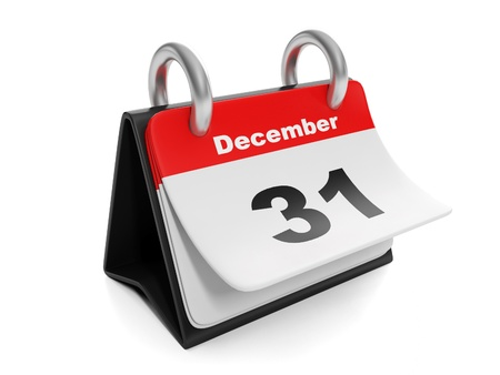 31: 3d illustration: New Year items. Calendar turns the page on December 31