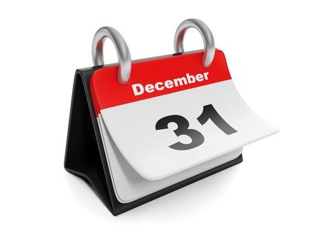 turns of the year: 3d ilustraci�n: Los elementos del A�o Nuevo. Calendario da vuelta la p�gina el 31 de diciembre