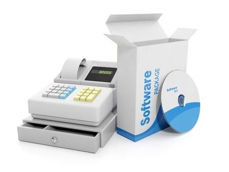 3d illustration: Purchase sale. Cash register and licensed software