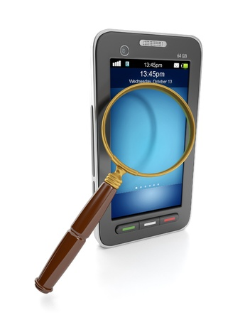 visual perception: 3d illustration: Mobile technology. Mobile phone and a magnifying glass to find the information