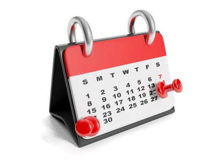 3d illustration: Calendar mark a date