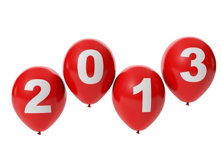 3d illustration: Holiday new year. Balloons with the words 2013 illustration