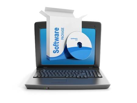 3d ilustración: Software. Comprar software para PC Foto de archivo