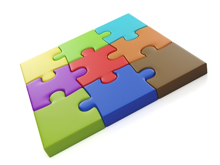 3d illustration: A group of puzzles. Square of colored parts