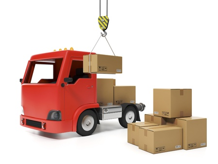 3d illustration: Freight. Group of cardboard boxes and a truck illustration