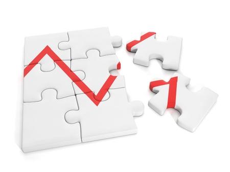 3d Illustration: Business idea. Group puzzles and business graph business unit Banque d'images