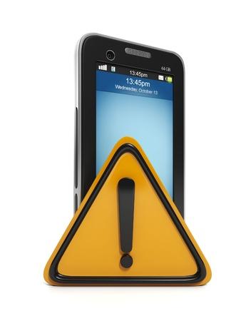 visual perception: 3d illustration: Mobile technology. communication error