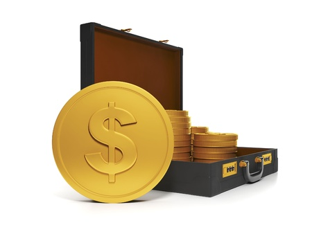 3d Illustration: Business technology. Group and a bag of gold coins illustration