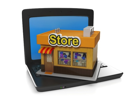 3d illustration of internet technology. Buying and selling goods online shop illustration