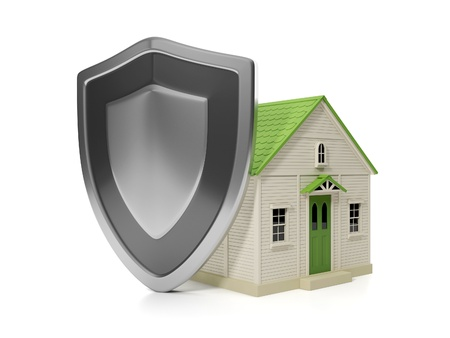 3d illustration: Housing Estate. Home insurance protection, a shield and a house Banque d'images