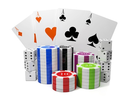 gambling chip: 3d illustration: Entertainment gambling. Chips and playing cards with a group of cubes