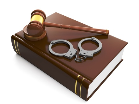 3d illustration: Legal assistance. Judicial gavel and law book, handcuffs illustration