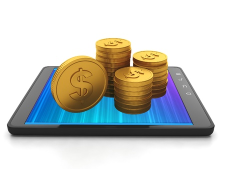 Mobile technology. Tablet computer and group of gold coins, earnings on creating applications for mobile phones Tablet PC Stock Photo - 17365565