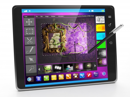 Mobile Applications on Tablet PC. Applications redoktirovaniya and graphics for designers Stock Photo - 17365572