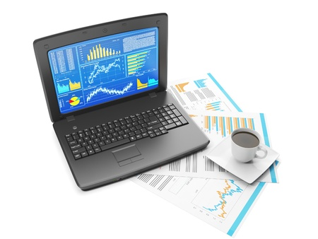 Laptop with business charts and group sheets with accounting photo