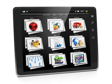 Tablet PC with a gallery of images. Tablet closeup view gallery photo on a white background Stock Photo - 17365551