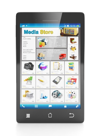 visual perception: Mobile technology mobile shop. Cell phone close up front on a white background