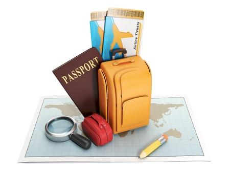 pasaporte: Buscar un lugar para quedarse. Grupo maletas están en el mapa ilustración abstracta Foto de archivo