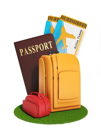 Sign trip. Illustration of a group of suitcases and a plane ticket, summer vacation and travel