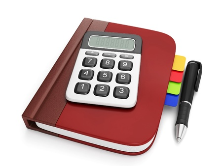 subtraction: Graphic representation of a notepad and calculator  Notebook with calculator lying on a white plane, isolated image