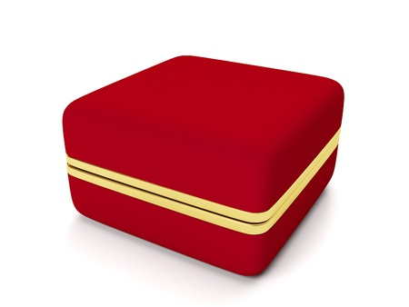 Red gift box for gold jewelry on a white background photo