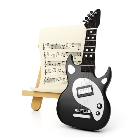 Graphic representation of a black electric guitar and a sheet with notes, icon, sign, symbol Stock Photo - 18562153